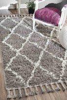 nuLoom Hand Knotted Fez Shag Wool Rug- Grey