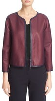 Armani Collezioni Women's Perforated Leather Overlay Jacket