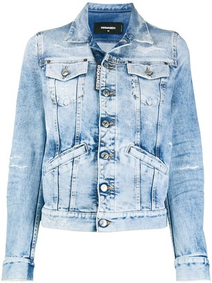 DSQUARED2 Ripped-Details Cropped Denim Jacket