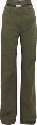 Valentino Cutout Cotton-twill Wide-leg Pants