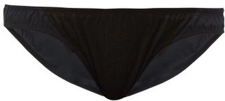 Rossell England - Sheer Angled Low-rise Cotton-pointelle Briefs - Black
