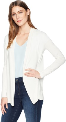 Lark & Ro Lightweight Long Sleeve Mid-Length Cardigan Sweater Winter White