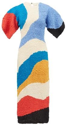 Mara Hoffman Freya Panelled Popcorn-effect Tencel Midi Dress - Womens - Cream Multi
