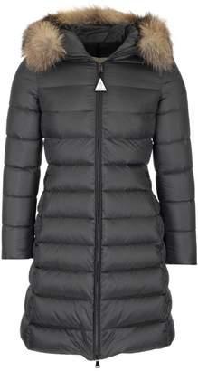 Moncler Belted Fur Trimmed Hooded Coat