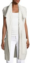 Calvin Klein Collection Dickens Open Cap-Sleeve Cardigan, Neutral