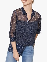 Mint Velvet Mixed Dot Blouse, Navy