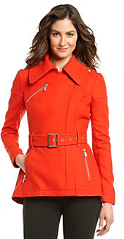 BCBGMAXAZRIA Short Asymmetrical Belted Coat with Zip