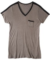 Mossimo Women's Plus-Size Short-Sleeve Faux-Leather Top - Gray