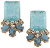 Carolee Gold-Tone Stone and Crystal Cluster Drop Earrings