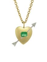Irene Neuwirth Emerald Heart and Diamond Arrow Necklace - Yellow and White Gold