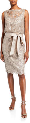 Tadashi Shoji Sequin Lace Sleeveless Dress with Waist Tie