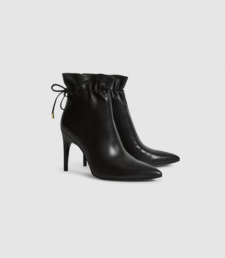 Reiss Russo - Leather Ruched Ankle Boots in Black