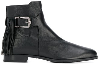 Tod's Fringed Buckled Ankle Boots