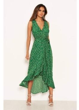 AX Paris Women's Printed Wrap Over Frill Midi Dress