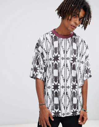 Asos Design DESIGN oversized t-shirt with vertical aztec print and contrast ringer-White