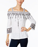 INC International Concepts Embroidered Cold-Shoulder Top, Only at Macy's