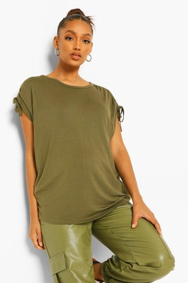 boohoo Maternity Ruched Sleeve Slouchy T-Shirt