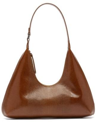BY FAR Amber Lizard-effect Leather Shoulder Bag - Tan