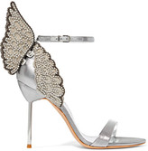 Sophia Webster Evangeline Crystal-embellished Lamé Sandals - Silver