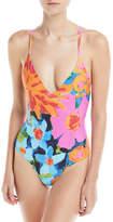 Mara Hoffman Emma V-Neck Colorblocked One-Piece Swimsuit