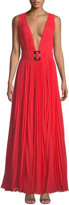 Fame & Partners The Vicente Sleeveless Plunge-Neck Open-Back Georgette Dress