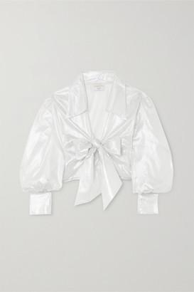 Maisoncléo MaisonCleo - Julie Metallic Silk-mesh Wrap Top - Silver