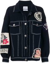 Barrie patched knitted jacket