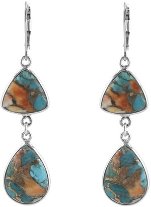 Peggy Li Creations Copper Oyster Turquoise Earrings Silver