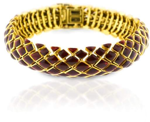 David Webb 18K Yellow Gold And Red Enamel Bracelet