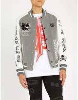 Philipp Plein Teddy bear-appliqué felt and leather bomber jacket