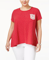 Style&Co. Style & Co Plus Size Crochet-Trim High-Low Top, Only at Macy's