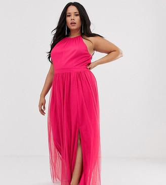 Little Mistress Plus gathered neck maxi dress in fuschia-Pink