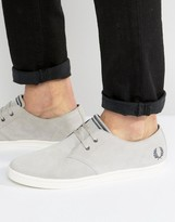 Fred Perry Byron Low Suede Trainers In Grey