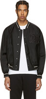 Alexander McQueen Black Embroidered Logo Bomber Jacket