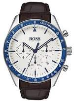 Hugo Boss Leather-strap watch with blue bezel