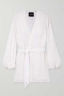 retrofete Gabrielle Velvet-trimmed Sequined Chiffon Mini Wrap Dress - White