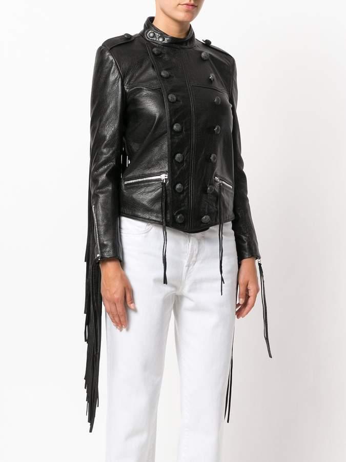 Faith Connexion tasseled leather military jacket