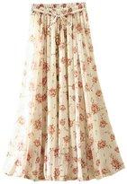 Aivtalk Ladies Chiffon Skirt Printing High Waist Midi Skirt Maxi Skirt for Women