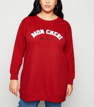 New Look Curves Mon Cheri Slogan Long Sweatshirt