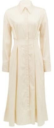 Ssone - Balance Pleated Striped-satin Midi Shirt Dress - Cream