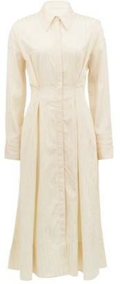 Ssōne Ssone - Balance Pleated Striped-satin Midi Shirt Dress - Cream