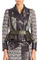 Alexander McQueen Leather & Tweed Peplum Moto Jacket