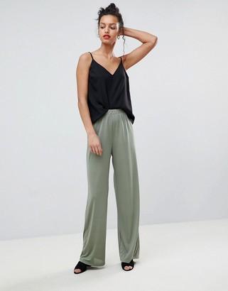 Asos Design DESIGN Slinky Wide Leg Pants-Green