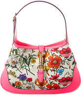 Gucci Jackie Medium Flora Canvas & Leather Hobo Bag