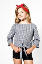 boohoo Girls Woven Gingham Tie Front Crop Top
