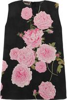 Giambattista Valli Floral-print Silk-chiffon Top - Black