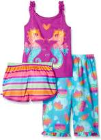 Komar Kids Big Girls 3 Piece Sleepwear Set Sea Horse Short Set with Print Pant