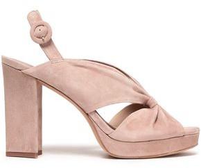 Diane von Furstenberg Heidi Knotted Suede Platform Slingback Sandals