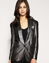 Leather Glitter Blazer