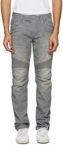 Balmain Grey Biker Rib Jeans